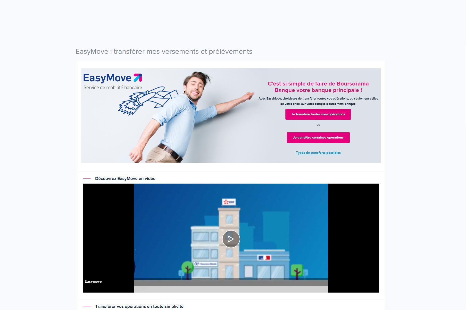 50€ offerts avec EasyMove, le service de mobilité bancaire Boursorama Banque