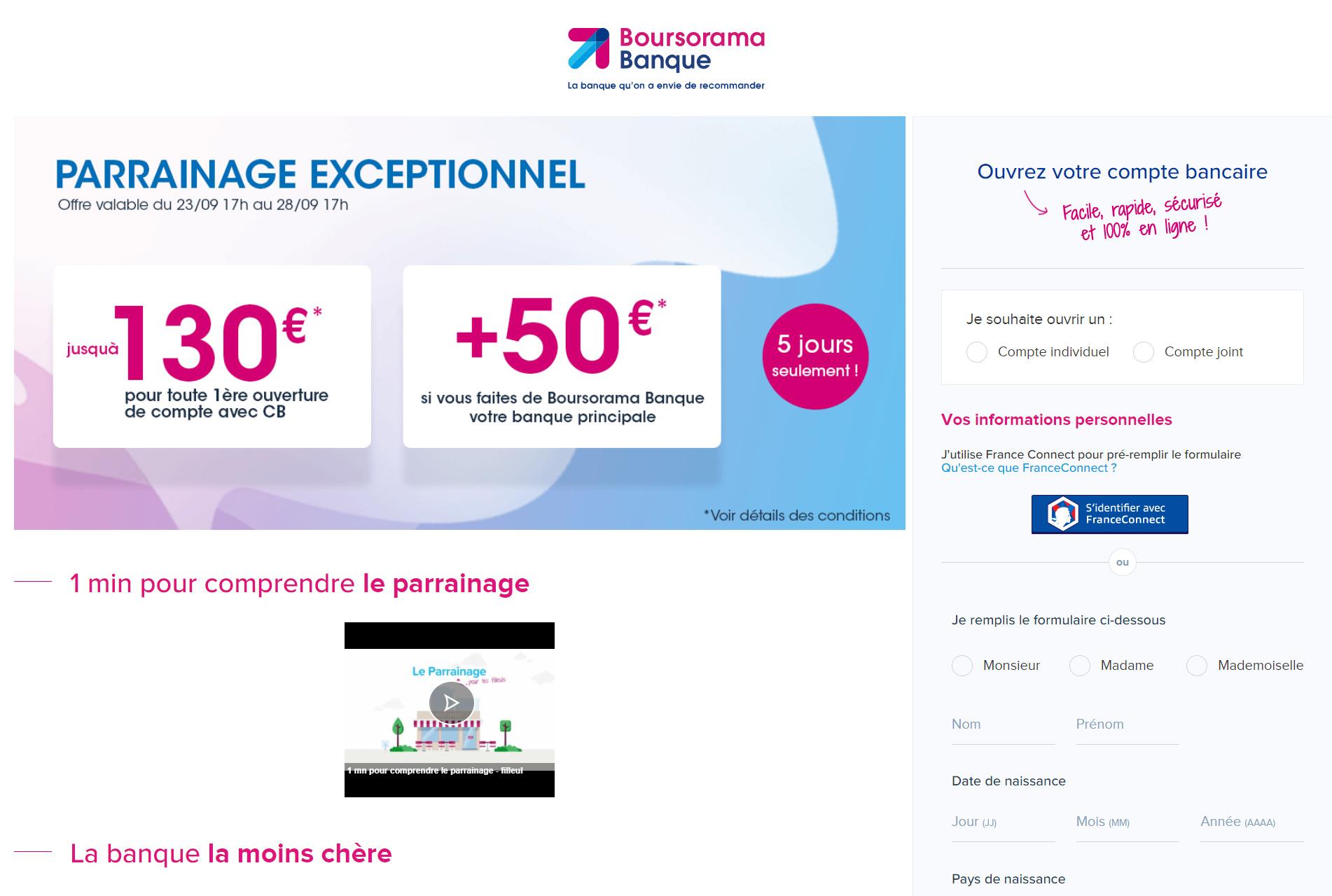 Offre de rentrée, jusqu'à 185€ de primes de parrainage Boursorama